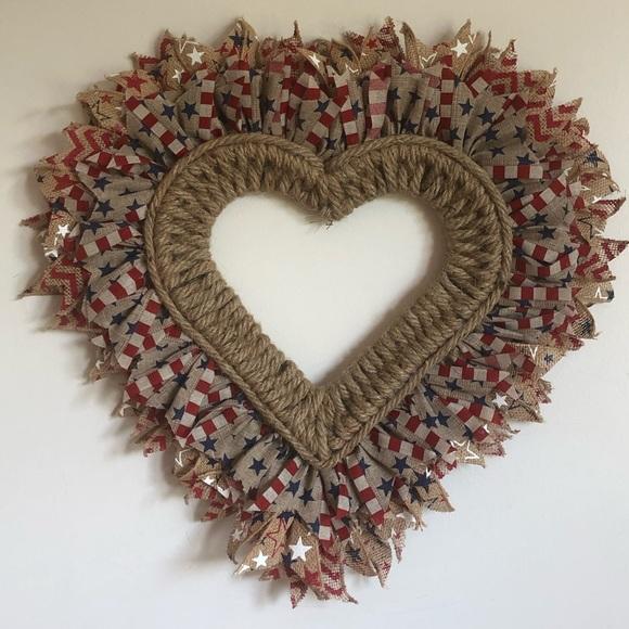 Handmade ribbon and rope wall decor/ rope wreath.